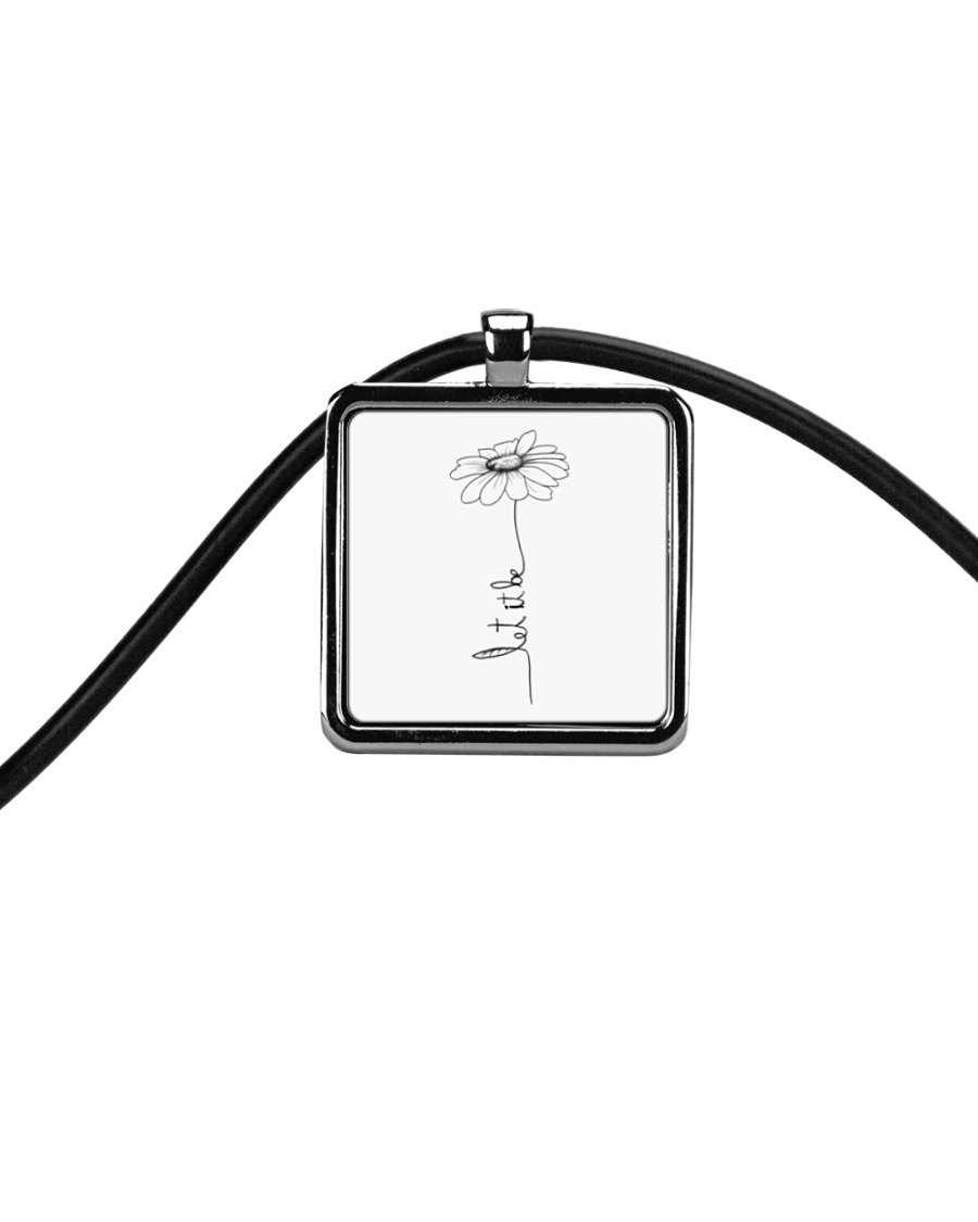 Let It Be Flower Hippie Music  Cord Rectangle Necklace showcase