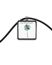 People Living Life In Peace Cord Rectangle Necklace tile