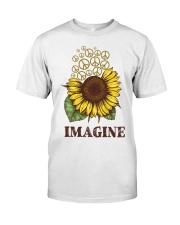 Imagine Flowers Hippie Classic T-Shirt front