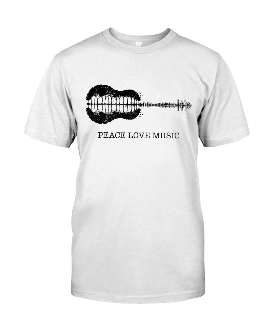 Peace Love Music Peace Tree Guitar Hippie  Classic T-Shirt