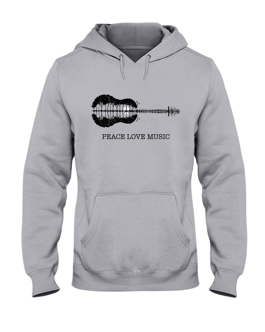 Peace Love Music Peace Tree Guitar Hippie  Hooded Sweatshirt showcase