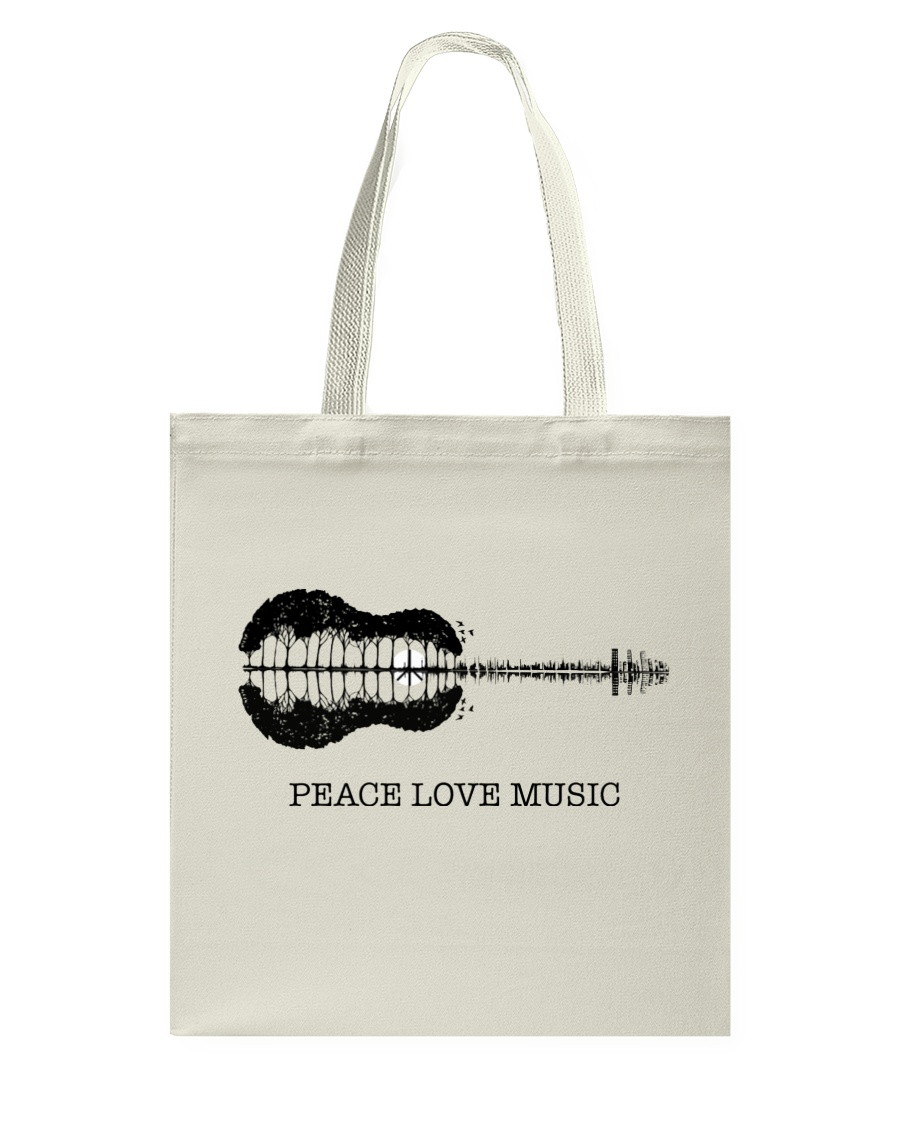 Peace Love Music Peace Tree Guitar Hippie  Tote Bag