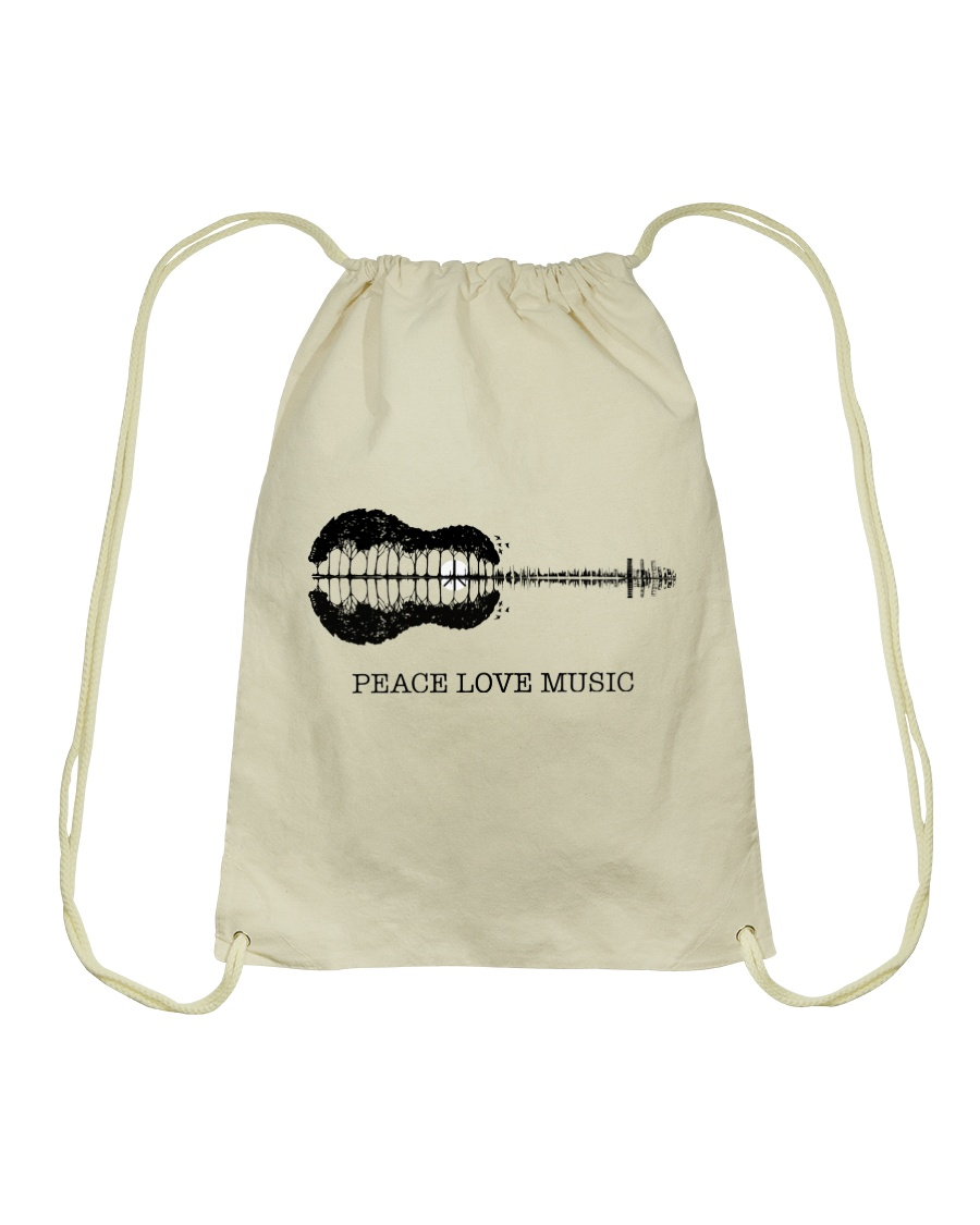 Peace Love Music Peace Tree Guitar Hippie  Drawstring Bag showcase