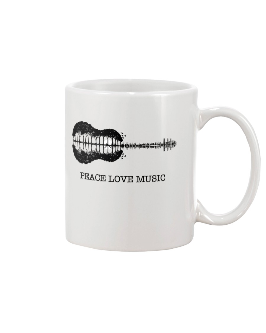 Peace Love Music Peace Tree Guitar Hippie  Mug showcase