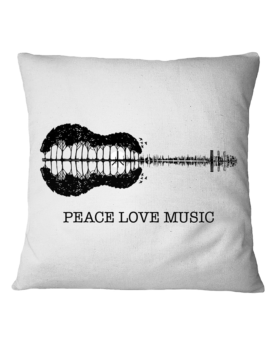 Peace Love Music Peace Tree Guitar Hippie  Square Pillowcase showcase
