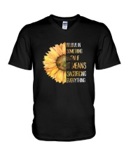 Believe In Something Flower Hippie V-Neck T-Shirt thumbnail