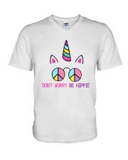 Dont Worry Be Hippie V-Neck T-Shirt thumbnail