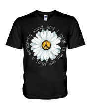 I Think To My Seff What A Wonderful World Hippie V-Neck T-Shirt thumbnail