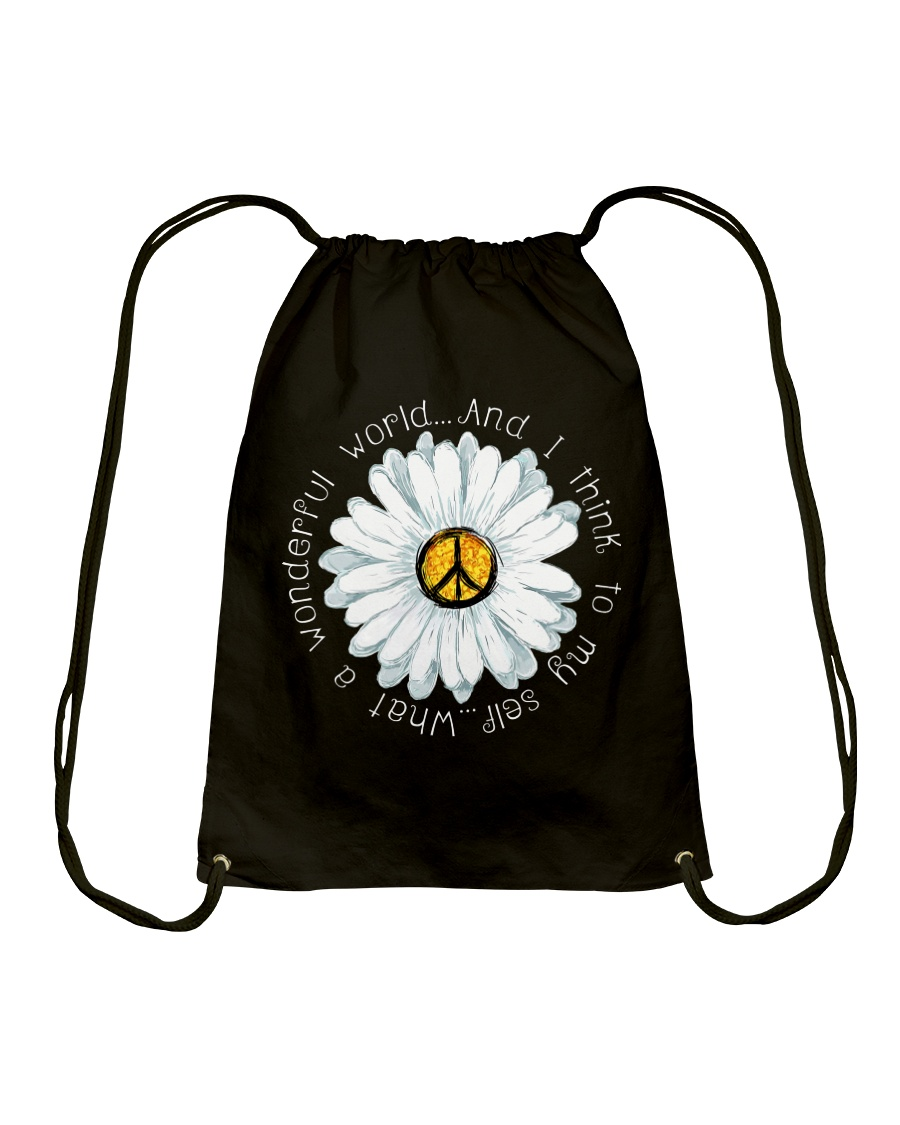 I Think To My Seff What A Wonderful World Hippie Drawstring Bag