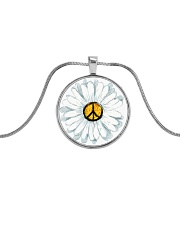 I Think To My Seff What A Wonderful World Hippie Metallic Circle Necklace thumbnail