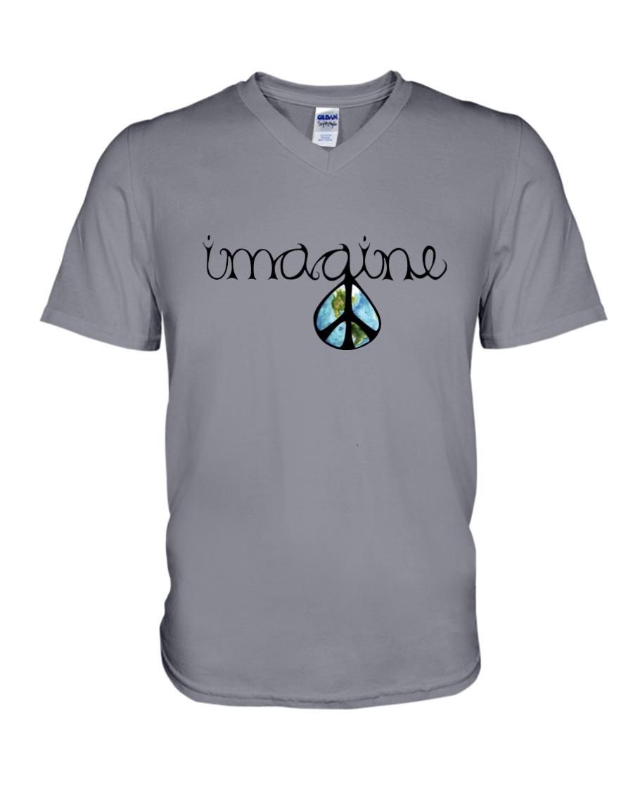 Imagine Peace Hippie V-Neck T-Shirt showcase