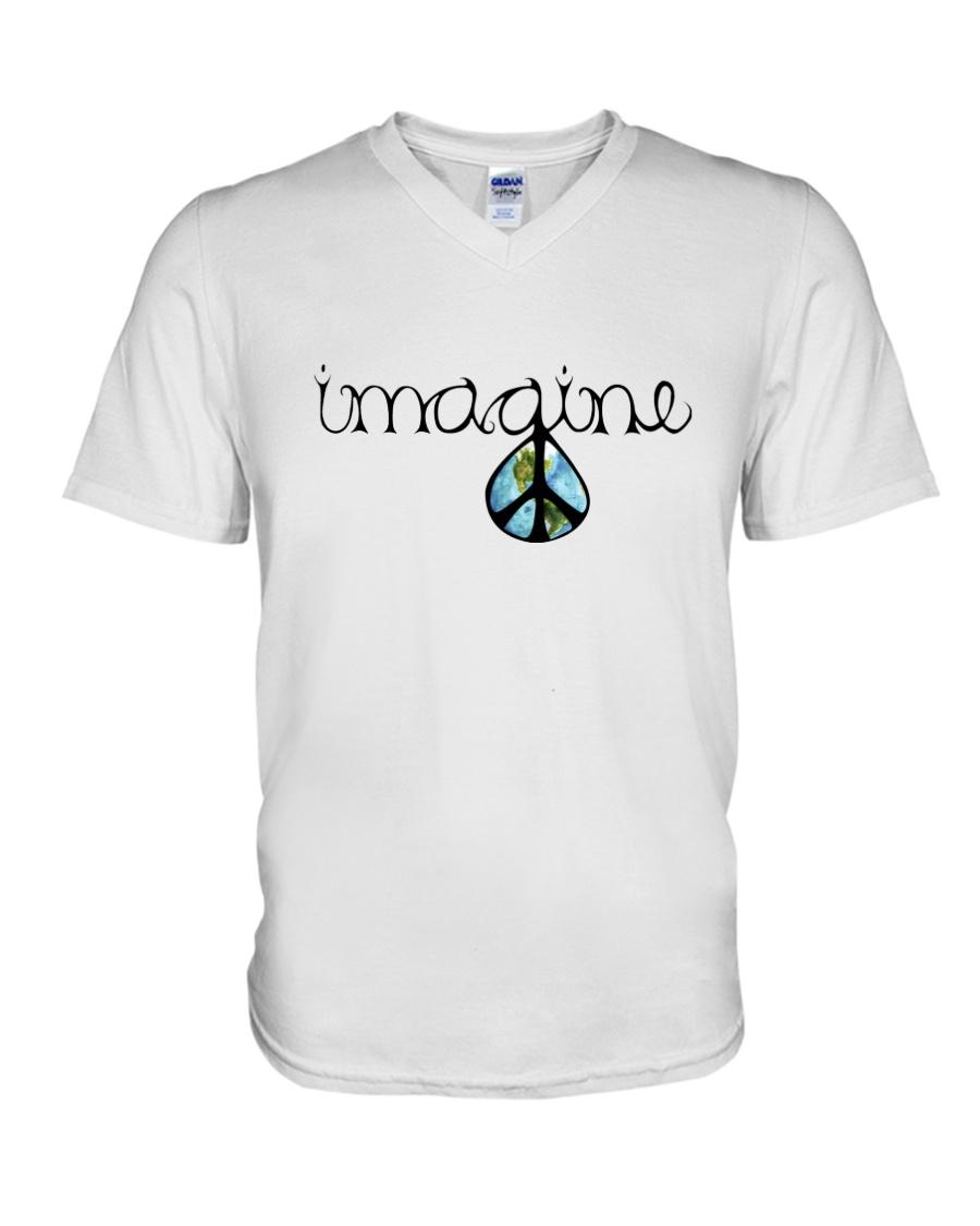 Imagine Peace Hippie V-Neck T-Shirt