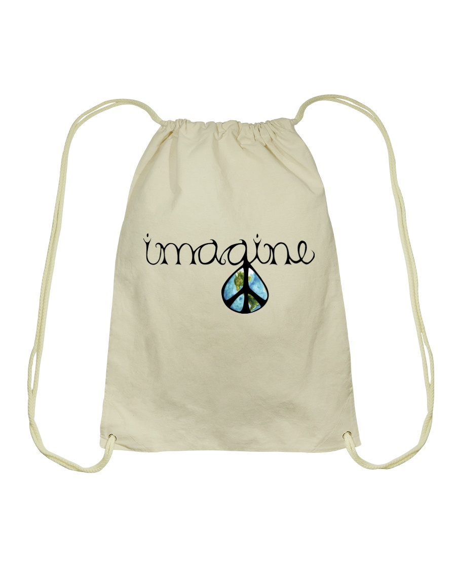 Imagine Peace Hippie Drawstring Bag