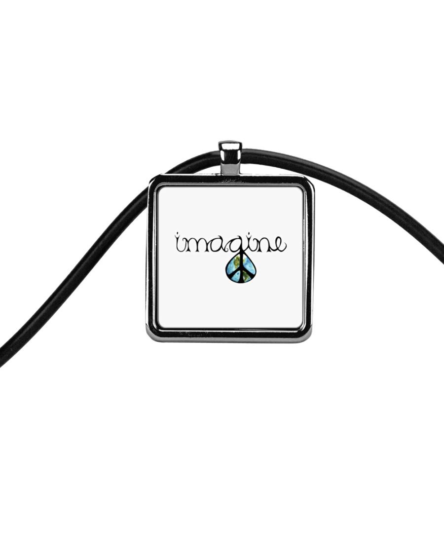 Imagine Peace Hippie Cord Rectangle Necklace