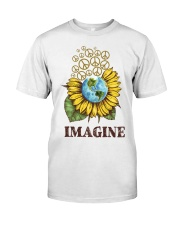 Imagine Peace Flowers Classic T-Shirt front
