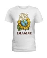 Imagine Peace Flowers Ladies T-Shirt thumbnail