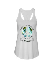 Imagine All The People Living Live In Peace Hippie Ladies Flowy Tank thumbnail