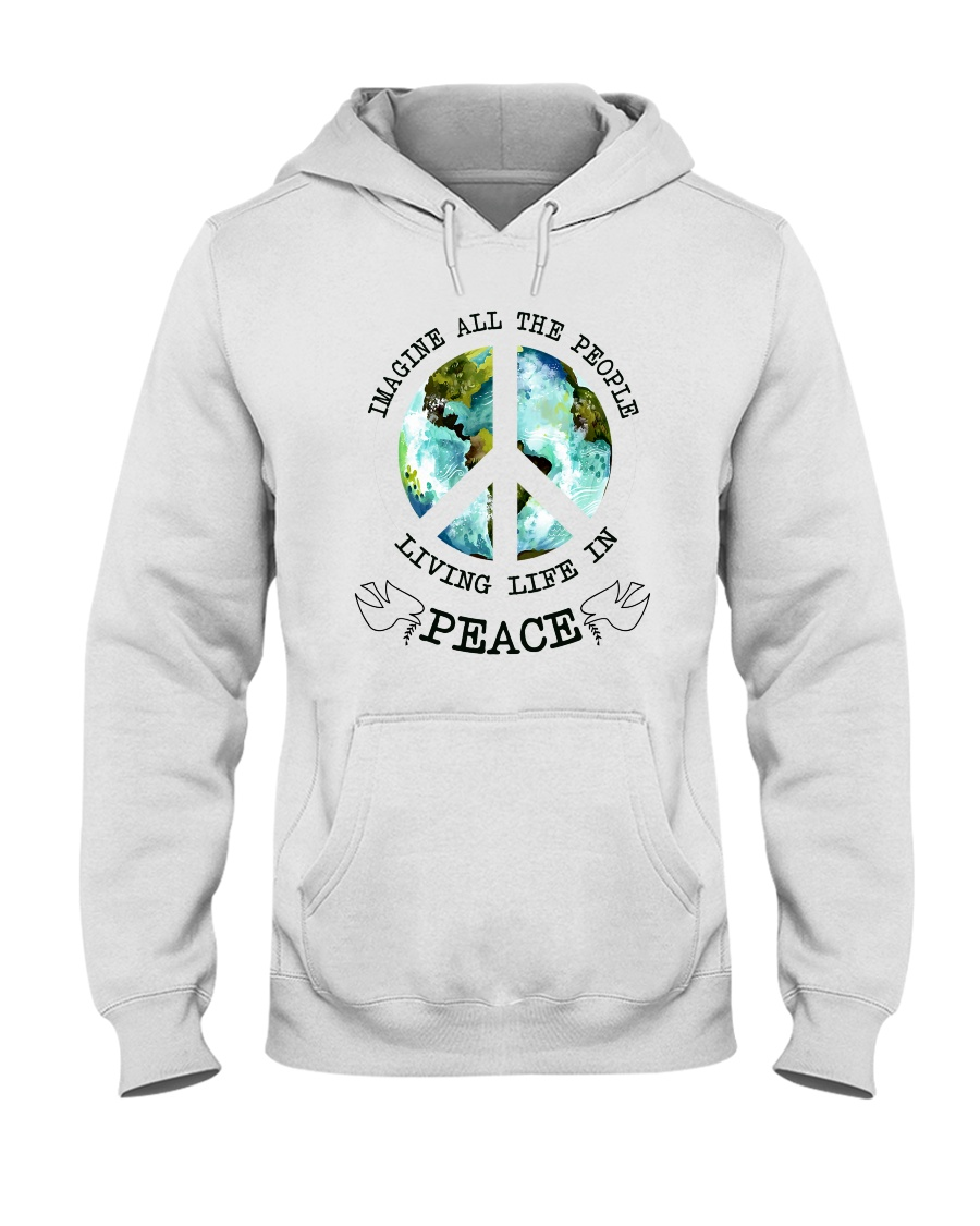 Imagine All The People Living Live In Peace Hippie Hooded Sweatshirt showcase