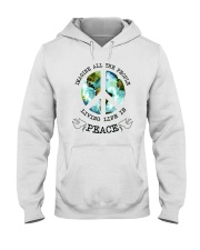 Imagine All The People Living Live In Peace Hippie Hooded Sweatshirt thumbnail