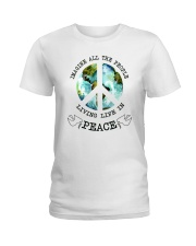 Imagine All The People Living Live In Peace Hippie Ladies T-Shirt tile