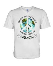 Imagine All The People Living Live In Peace Hippie V-Neck T-Shirt tile