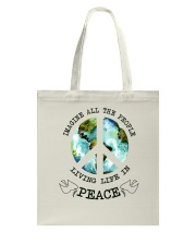 Imagine All The People Living Live In Peace Hippie Tote Bag tile