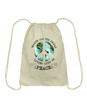 Imagine All The People Living Live In Peace Hippie Drawstring Bag thumbnail