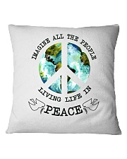 Imagine All The People Living Live In Peace Hippie Square Pillowcase thumbnail