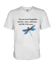 Touch Dragonflies And Stars V-Neck T-Shirt thumbnail