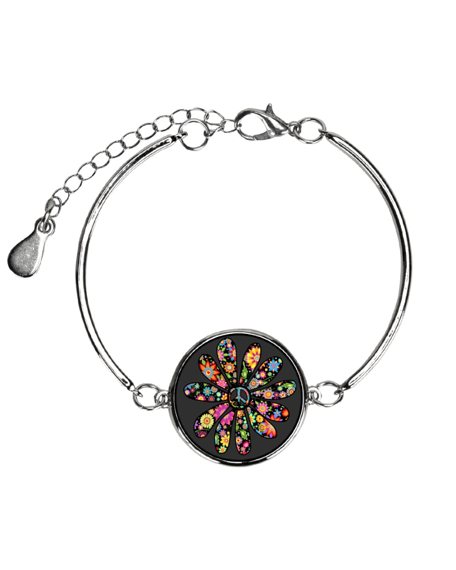 Hippie Flowers Metallic Circle Bracelet