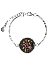 Hippie Flowers Metallic Circle Bracelet front