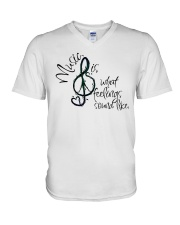 Music Is What Feelings Sound Like Hippie  V-Neck T-Shirt thumbnail