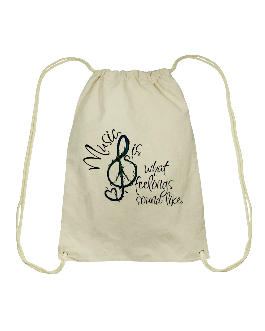 Music Is What Feelings Sound Like Hippie  Drawstring Bag