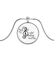 Music Is What Feelings Sound Like Hippie  Metallic Circle Necklace thumbnail