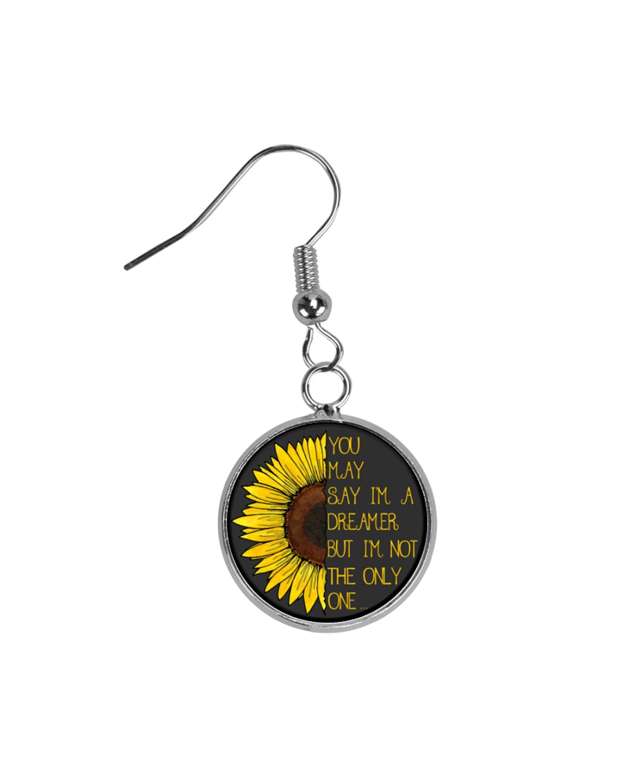 You May Say I'm A Dreamer Sun Flower Hippie Circle Earrings