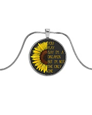 You May Say I'm A Dreamer Sun Flower Hippie Metallic Circle Necklace front
