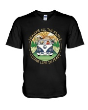 People Living Life In Peace V-Neck T-Shirt thumbnail