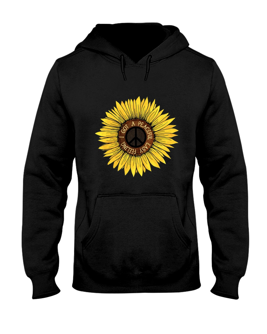 I Got A Peacful Easy Feeling Sun Flower Hippie  Hooded Sweatshirt