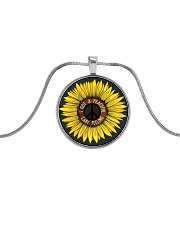 I Got A Peacful Easy Feeling Sun Flower Hippie  Metallic Circle Necklace thumbnail