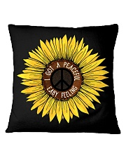 I Got A Peacful Easy Feeling Sun Flower Hippie  Square Pillowcase thumbnail