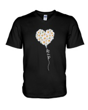 Let It Be Flower Music Hippie  V-Neck T-Shirt thumbnail
