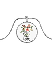 I Must Have Flowers Always And Always Hippie  Metallic Circle Necklace thumbnail