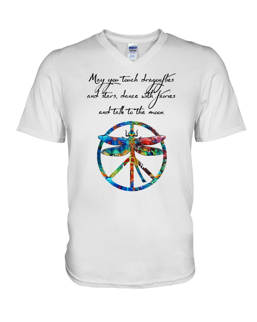May You Touch Dragonflies And Stars Hippie  V-Neck T-Shirt showcase