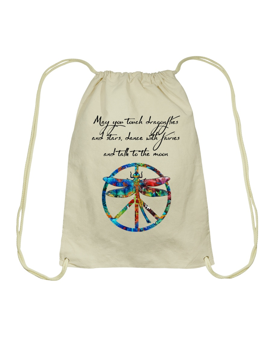 May You Touch Dragonflies And Stars Hippie  Drawstring Bag