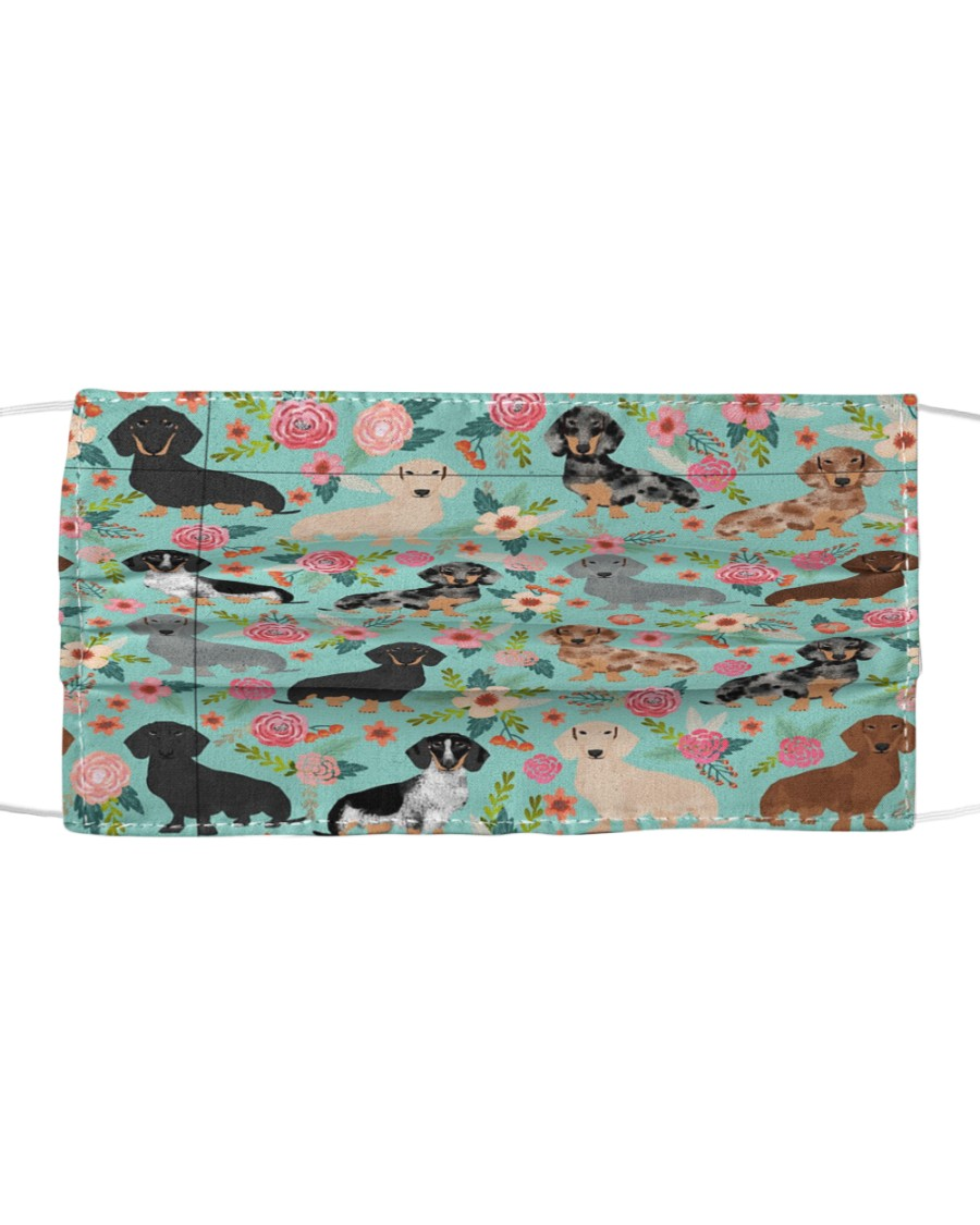 Dachshund Floral Re-Usable Mask Cloth face mask