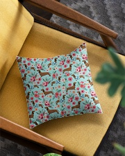 Doxie Flower Pattern Square Pillowcase aos-pillow-square-front-lifestyle-07