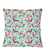 Doxie Flower Pattern Square Pillowcase back