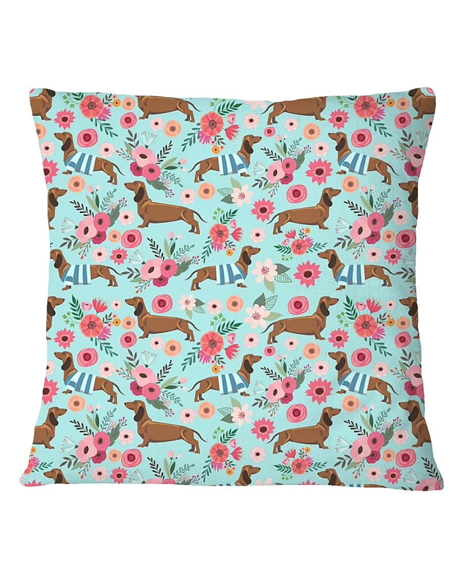 Doxie Flower Pattern Square Pillowcase
