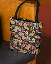 Cream Dachshund Floral All-over Tote aos-all-over-tote-lifestyle-front-02