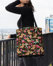 Cream Dachshund Floral All-over Tote aos-all-over-tote-lifestyle-front-05